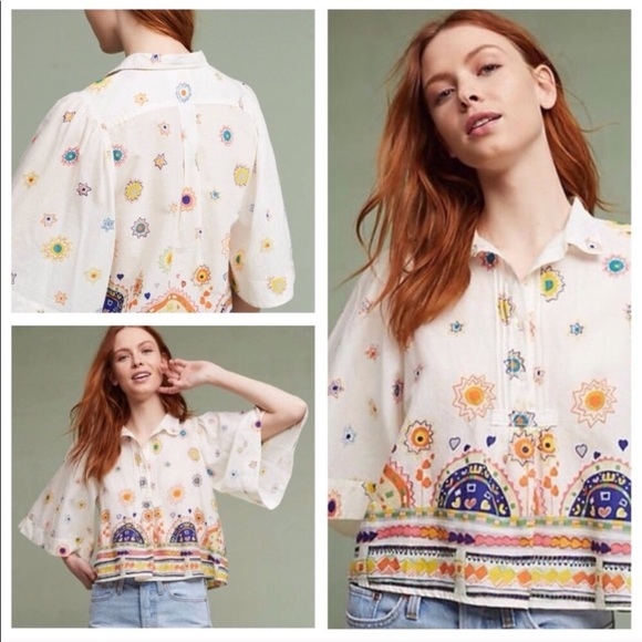 Anthropologie Tops - Maeve Eliot popover boho blouse crop bell sleeve